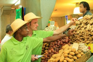 Chefs Mike North & Marcus Accouche at the Port Louis market