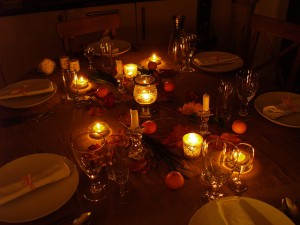 Candles on the dining table
