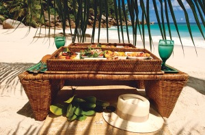 Fresh beach picnic at Anse Georgette, Seychelles