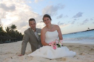 wedding on beach, bride in her bridal dress