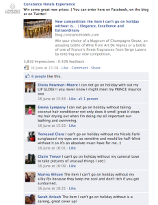 Screenshot of some of the Facebook entries to the competition