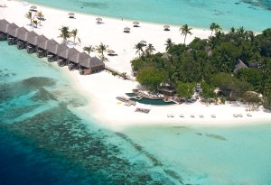 Aerial view of Constance Moofushi Resort, Maldives