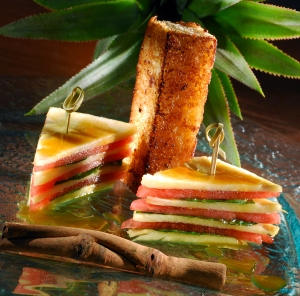 Pineapple and watermelon sandwich with cinnamon French toast