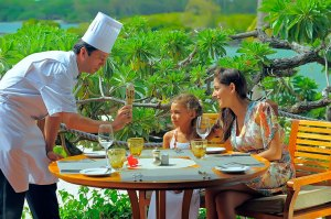 Chef with guests at Constance Le Prince Maurice