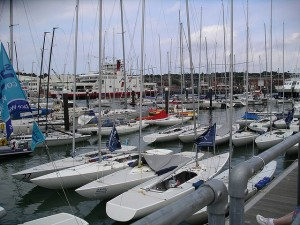 Boats in harbour at Cowes Week