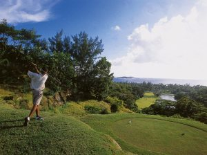 Golf course at Constance Lemuria, Seychelles