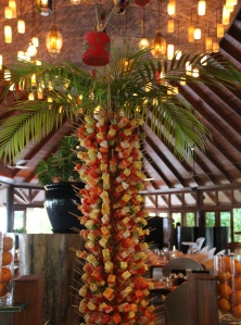 Fruit skewer palm tree